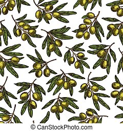 Vector olives pattern seamless background