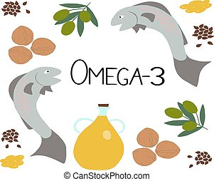 Vector Omega-3 products and the inscription omega-3