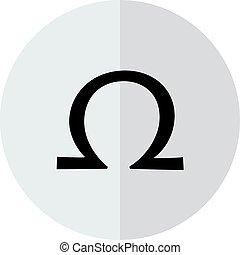 Vector omega sign on a transparent background
