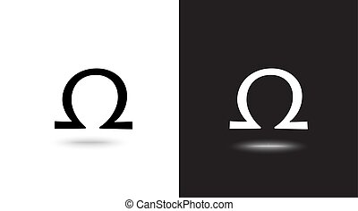 Vector omega sign on black and white background - Vector...