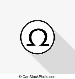 Vector omega sign with a long shadow on the background