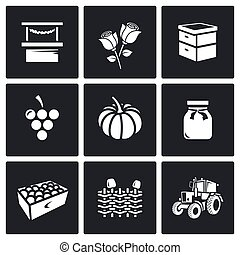 vector, omheining, bijenkorf, wicker, markt, tractor., icons...