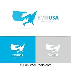vector, omhelzing, combination., usa, logo, symbool, logotype, amerika, of, staat, verenigd, ontwerp, handen, omhelzen, icon., uniek, template.