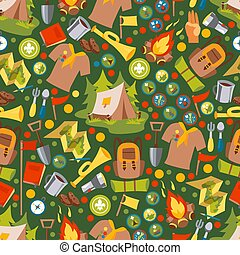 vector, omhulsel, kamp, avontuur, afdrukken, kentekens, design., iconen, illustration., papier, model, seamless, emblems, verkenner, weefsel, vrijstaand, set, kamperen, zomer, of