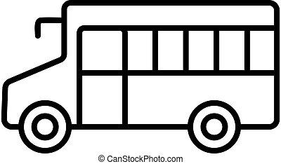 vector., omtrek, symbool, illustratie, pictogram, bus, vrijstaand