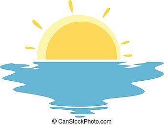 vector, ondergaande zon , zee, illustratie, pictogram