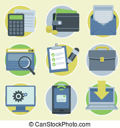 Vector online business icons in flat style