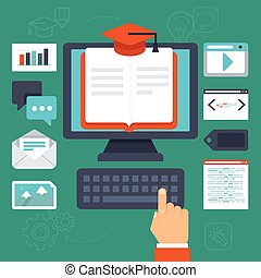 Vector online education concept - illustration in flat style