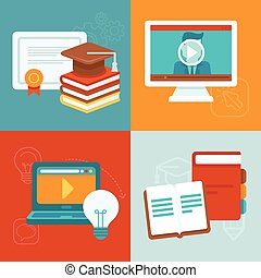 Vector online education concepts and icons in flat style -...