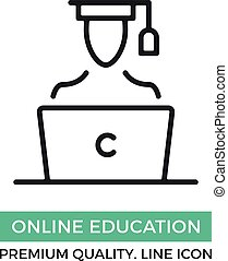Vector online education icon. Man wearing academic graduation cap sitting at the laptop. Premium quality graphic design elements. Modern sign, linear pictogram, outline symbol, simple thin line icon