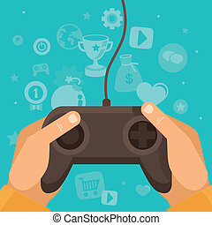Vector online game concept - hands holding joystick with...
