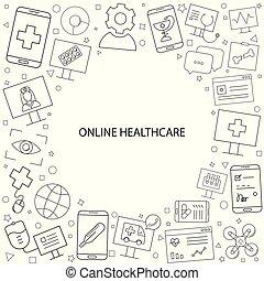Vector Online healthcare and medicine pattern. Online healthcare and medicine background with world