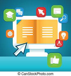 vector, online onderwijs, concept