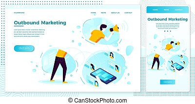 Vector online outbound marketing man with speaker - Vector ...