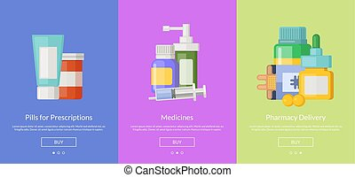 Vector online pharmacy template for buying medicines -...