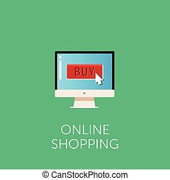 Vector online shopping icon. Concept of online shop. Cursor on button 'buy'. Flat style design.