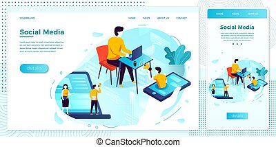Vector online social web network advertisement set