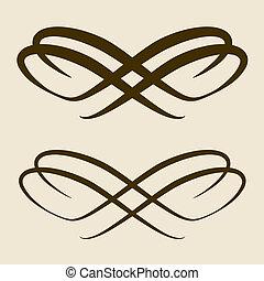 vector, ontwerp, calligraphic, boog, element