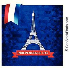 vector, ontwerp, dag, onafhankelijkheid, frankrijk