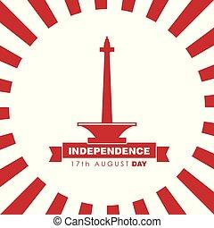 vector, ontwerp, dag, onafhankelijkheid, indonesie