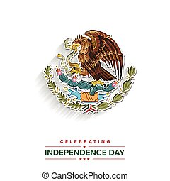 vector, ontwerp, dag, onafhankelijkheid, mexico