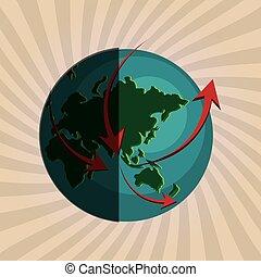 vector, ontwerp, illustratie, planeet