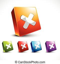 vector, ontwerp, kruis, pictogram, 3d