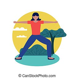 vector, ontwerp, meisje, pose, yoga