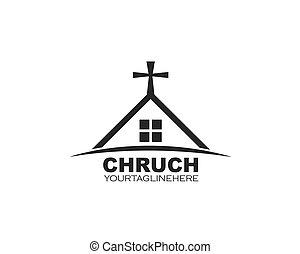 vector, ontwerp, pictogram, kerk, illustratie