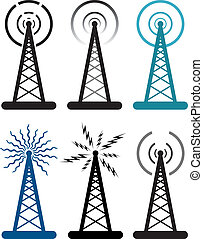 vector, ontwerp, van, radio toren, symbolen