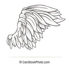vector, ontwerp, vleugel
