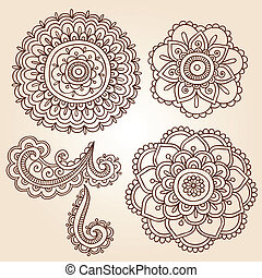 vector, ontwerpen, mandala, henna, bloem