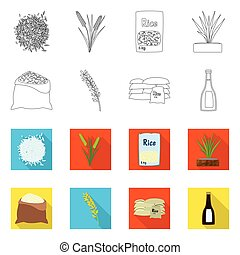 vector, oogst, set, illustration., liggen, icon., ecologisch, illustratie, het koken
