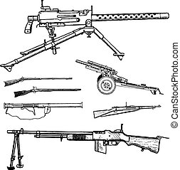 vector, oorlog, boordgeschut