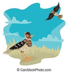 vector, op, karakters, bird., leeuwerik, grond, blik,...