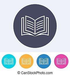 Vector open book icon colorful buttons - Vector open book...