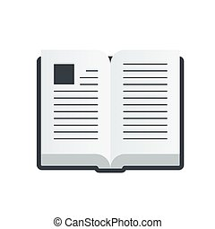 Vector open book icon in a flat style isolated on white background.