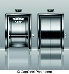 vector, open, gesloten, lift