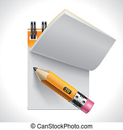 Vector open notepad with pencil XXL