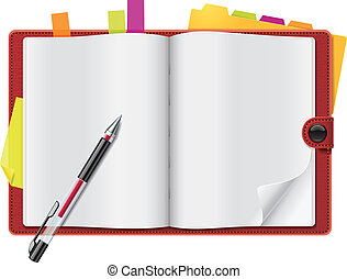 Vector open personal organizer - Blank pages of the open ...