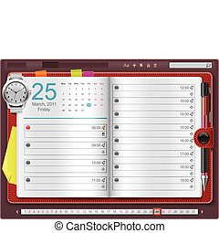 Vector open personal organizer - Detailed personal organizer...