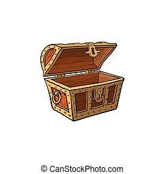 vector opened empty wooden treasure chest