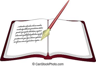vector, opengeslagen boek, met, pen