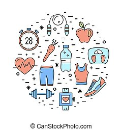 vector, opleiding, concept, fitness, gezondheidszorg