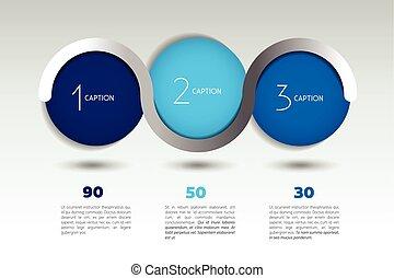 vector, optie, bolen, kleur, bubbles., 3, infographic, gelul, steps., spandoek, template.