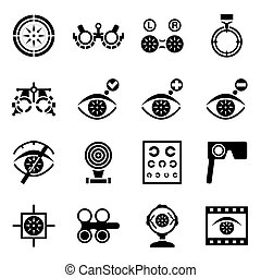 Vector Optometry icon set on white background