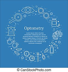 Vector optometry round concept. Optician, ophtalmology, ...