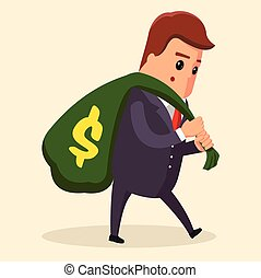 Vector or manager Business concept. Man in suit, businessman carrying big and heavy money bag on his back . , illustration, flat