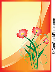 vector orange card with flowers