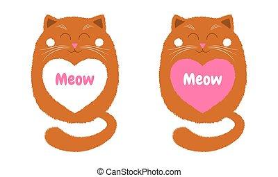 Vector Orange Cat in Cartoon Style. 4